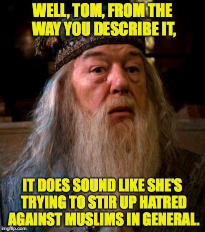 WELL, TOM, FROM THE WAY YOU DESCRIBE IT, IT DOES SOUND LIKE SHE'S TRYING TO STIR UP HATRED AGAINST MUSLIMS IN GENERAL. | made w/ Imgflip meme maker