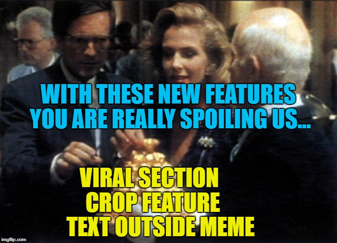 New features, new features everywhere... :) | WITH THESE NEW FEATURES YOU ARE REALLY SPOILING US... TEXT OUTSIDE MEME CROP FEATURE VIRAL SECTION | image tagged in memes,ferrero rocher ambassador's reception,new feature,imgflip,classic advert,changes | made w/ Imgflip meme maker