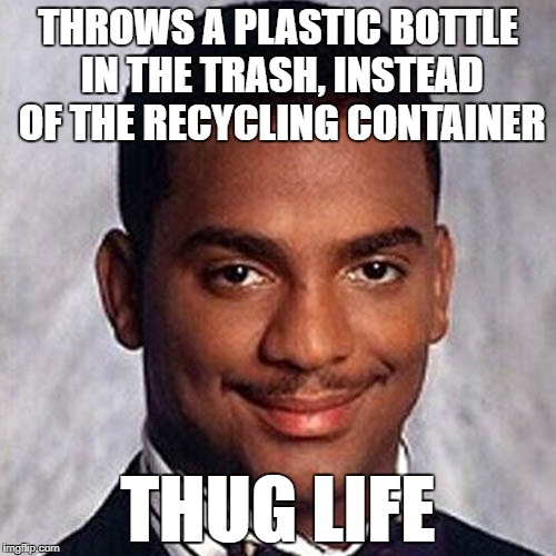 THROWS A PLASTIC BOTTLE IN THE TRASH, INSTEAD OF THE RECYCLING CONTAINER THUG LIFE | image tagged in carlton banks,recycling | made w/ Imgflip meme maker