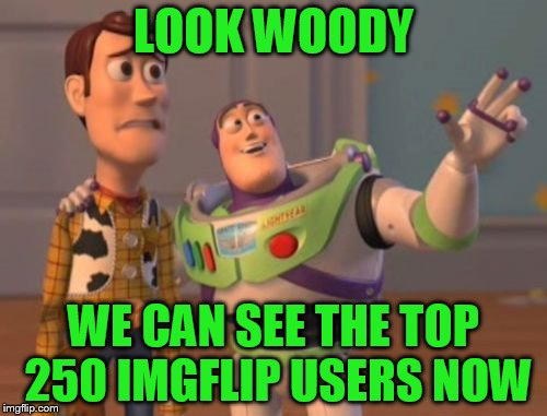 X, X Everywhere Meme | LOOK WOODY WE CAN SEE THE TOP 250 IMGFLIP USERS NOW | image tagged in memes,x x everywhere | made w/ Imgflip meme maker