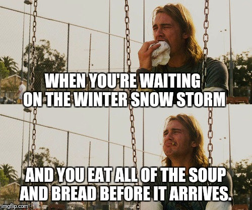 Get ready east coast | WHEN YOU'RE WAITING ON THE WINTER SNOW STORM AND YOU EAT ALL OF THE SOUP AND BREAD BEFORE IT ARRIVES. | image tagged in memes,first world stoner problems,snow,storm,winter storm,bread | made w/ Imgflip meme maker
