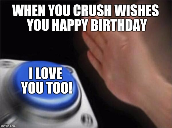 Blank Nut Button Meme | WHEN YOU CRUSH WISHES YOU HAPPY BIRTHDAY I LOVE YOU TOO! | image tagged in memes,blank nut button | made w/ Imgflip meme maker