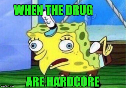 Mocking Spongebob Meme | WHEN THE DRUG ARE HARDCORE | image tagged in memes,mocking spongebob | made w/ Imgflip meme maker
