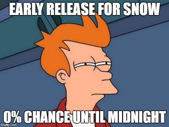 Futurama Fry Meme | EARLY RELEASE FOR SNOW 0% CHANCE UNTIL MIDNIGHT | image tagged in memes,futurama fry | made w/ Imgflip meme maker