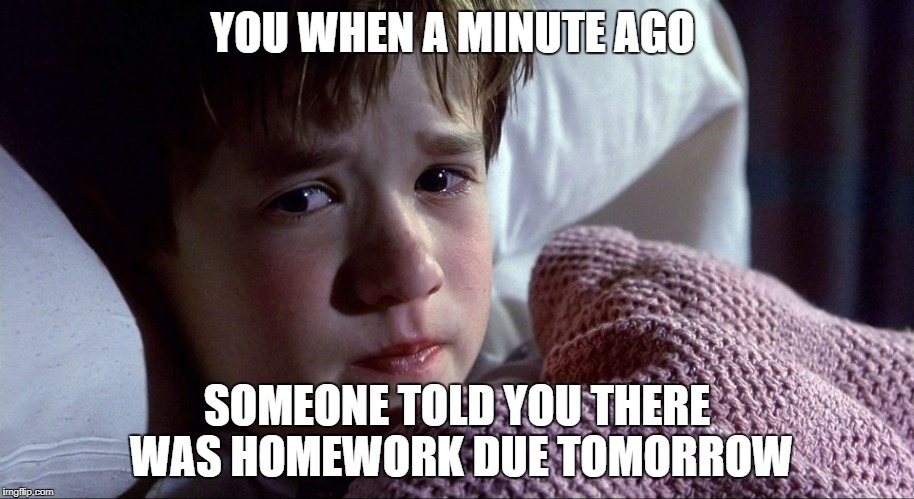 YOU WHEN A MINUTE AGO SOMEONE TOLD YOU THERE WAS HOMEWORK DUE TOMORROW | image tagged in memes | made w/ Imgflip meme maker