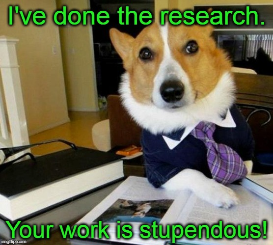 Lawyer Dog | I've done the research. Your work is stupendous! | image tagged in lawyer dog | made w/ Imgflip meme maker