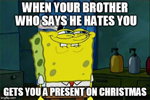 Dont You Squidward Meme | WHEN YOUR BROTHER WHO SAYS HE HATES YOU GETS YOU A PRESENT ON CHRISTMAS | image tagged in memes,dont you squidward | made w/ Imgflip meme maker