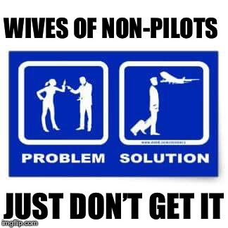 WIVES OF NON-PILOTS JUST DON'T GET IT | image tagged in flying,thoroughly modern marriage | made w/ Imgflip meme maker