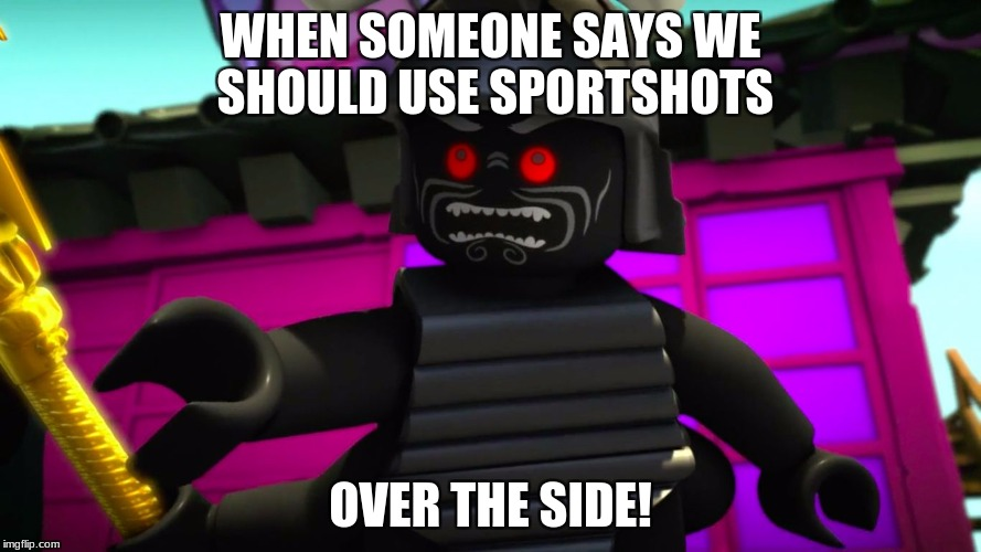 or into the barbed wire pit | WHEN SOMEONE SAYS WE SHOULD USE SPORTSHOTS OVER THE SIDE! | image tagged in lord garmadon over the side,unturned,memes | made w/ Imgflip meme maker