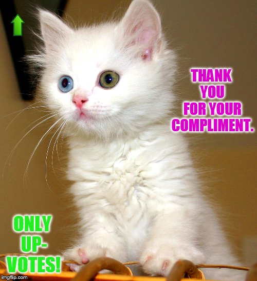THANK YOU FOR YOUR COMPLIMENT. ONLY UP- VOTES! | made w/ Imgflip meme maker