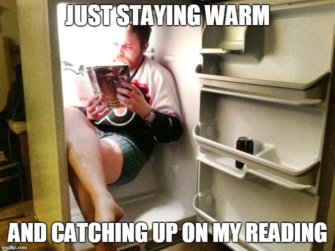 I curse the Cold | JUST STAYING WARM AND CATCHING UP ON MY READING | image tagged in refrigerator,cold weather,reading | made w/ Imgflip meme maker