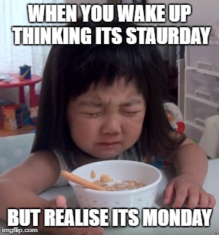 WHEN YOU WAKE UP THINKING ITS STAURDAY BUT REALISE ITS MONDAY | image tagged in when you realize | made w/ Imgflip meme maker