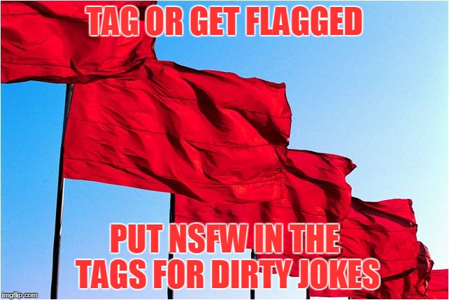 red flags | TAG OR GET FLAGGED PUT NSFW IN THE TAGS FOR DIRTY JOKES | image tagged in red flags | made w/ Imgflip meme maker