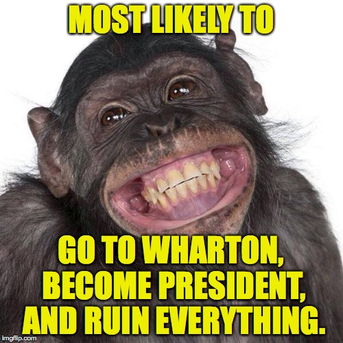 Meanwhile in 1964 | MOST LIKELY TO GO TO WHARTON, BECOME PRESIDENT, AND RUIN EVERYTHING. | image tagged in memes,trump,meanwhile in 19xx,most likely | made w/ Imgflip meme maker