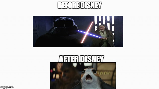 The fall of a legend | BEFORE DISNEY AFTER DISNEY | image tagged in white box,star wars meme,disney | made w/ Imgflip meme maker