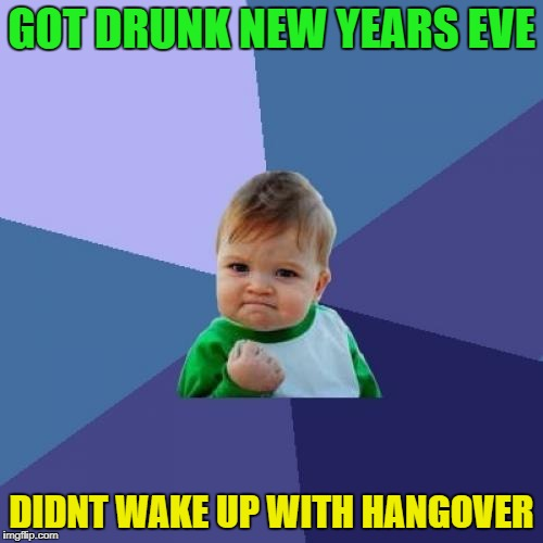 Like that could ever happend | GOT DRUNK NEW YEARS EVE DIDNT WAKE UP WITH HANGOVER | image tagged in memes,success kid,funny | made w/ Imgflip meme maker