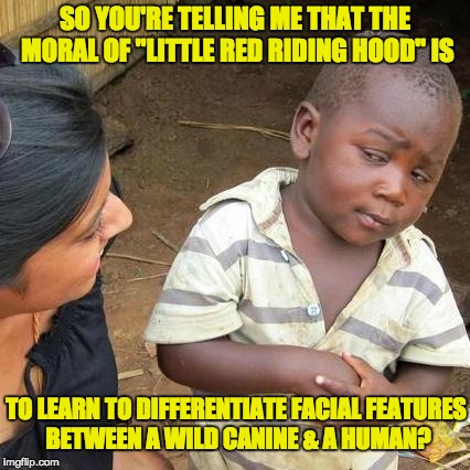 "Third World Skeptical Kid Meme | SO YOU'RE TELLING ME THAT THE MORAL OF ""LITTLE RED RIDING HOOD"" IS TO LEARN TO DIFFERENTIATE FACIAL FEATURES BETWEEN A WILD CANINE & A HUMAN 