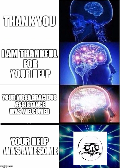 This is my life, up up up in grammar and word usage and all the way back down  | THANK YOU I AM THANKFUL FOR YOUR HELP YOUR MOST GRACIOUS ASSISTANCE WAS WELCOMED YOUR HELP WAS AWESOME | image tagged in memes,expanding brain | made w/ Imgflip meme maker