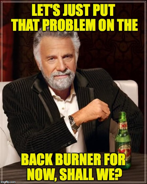The Most Interesting Man In The World Meme | LET'S JUST PUT THAT PROBLEM ON THE BACK BURNER FOR NOW, SHALL WE? | image tagged in memes,the most interesting man in the world | made w/ Imgflip meme maker