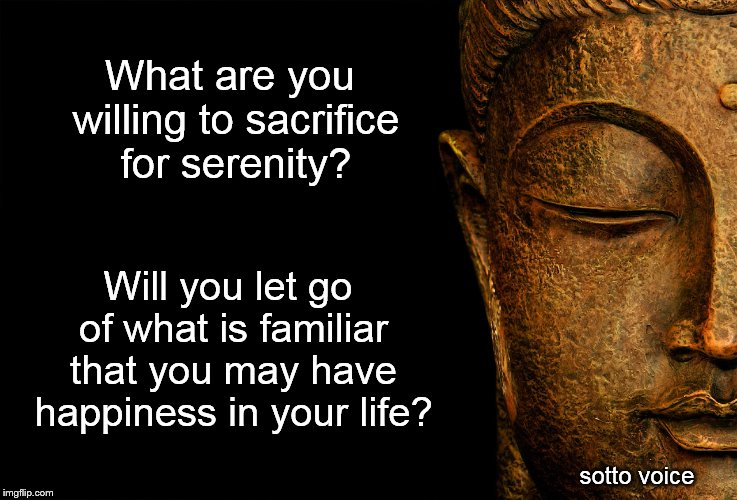 What are you willing to sacrifice for serenity? sotto voice Will you let go of what is familiar that you may have happiness in your life? | image tagged in buddha black | made w/ Imgflip meme maker