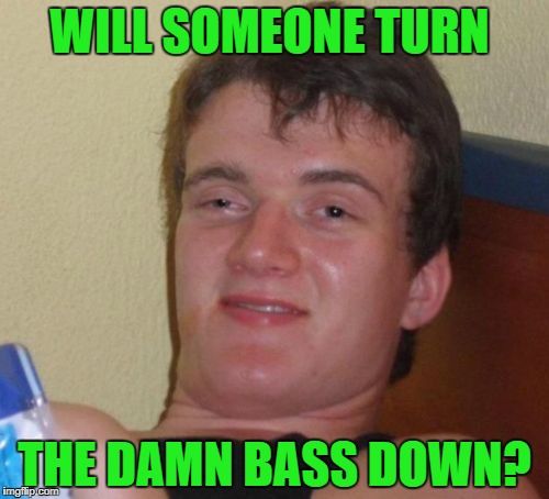 10 Guy Meme | WILL SOMEONE TURN THE DAMN BASS DOWN? | image tagged in memes,10 guy | made w/ Imgflip meme maker