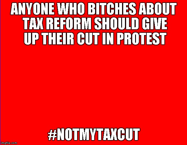 Tax Cut | ANYONE WHO B**CHES ABOUT TAX REFORM SHOULD GIVE UP THEIR CUT IN PROTEST #NOTMYTAXCUT | image tagged in politics | made w/ Imgflip meme maker