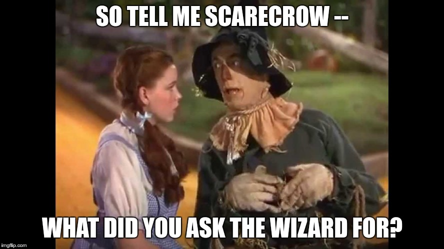 Dorothy and the Scarecrow | SO TELL ME SCARECROW -- WHAT DID YOU ASK THE WIZARD FOR? | image tagged in dorothy and the scarecrow | made w/ Imgflip meme maker