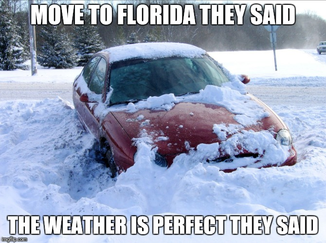 MOVE TO FLORIDA THEY SAID THE WEATHER IS PERFECT THEY SAID | image tagged in florida,winter,snow | made w/ Imgflip meme maker