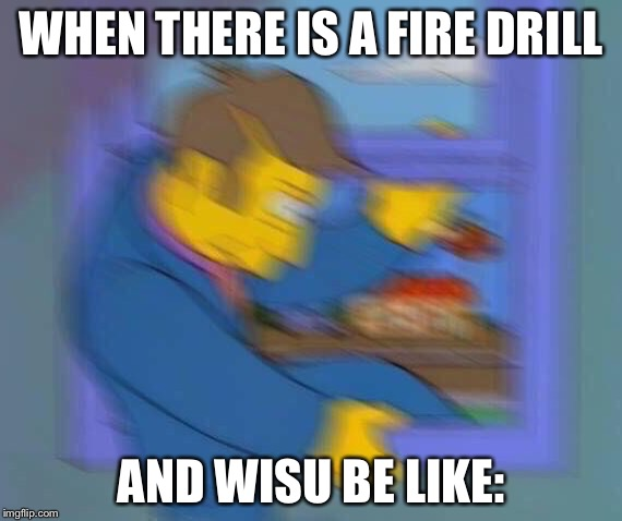 WHEN THERE IS A FIRE DRILL AND WISU BE LIKE: | image tagged in skinner fit | made w/ Imgflip meme maker
