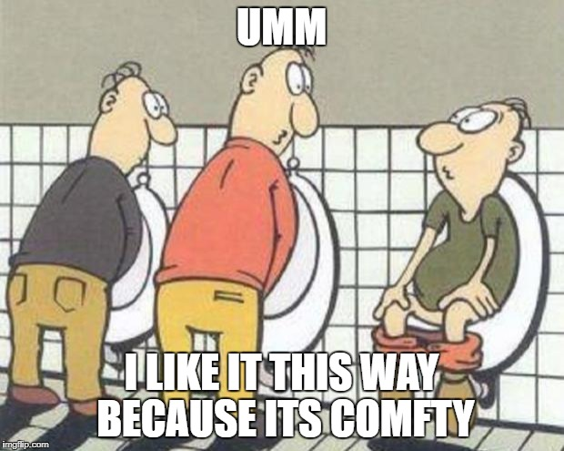 STUPID | UMM I LIKE IT THIS WAY BECAUSE ITS COMFTY | image tagged in stupid | made w/ Imgflip meme maker