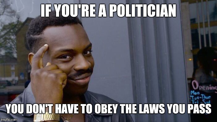 Roll Safe Think About It Meme | IF YOU'RE A POLITICIAN YOU DON'T HAVE TO OBEY THE LAWS YOU PASS | image tagged in memes,roll safe think about it | made w/ Imgflip meme maker