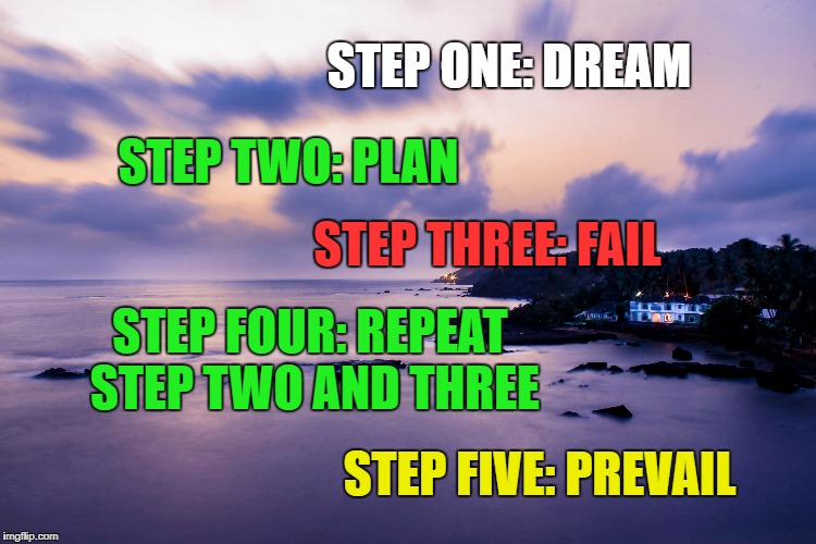 Success: Formula  | STEP ONE: DREAM STEP TWO: PLAN STEP THREE: FAIL STEP FOUR: REPEAT STEP TWO AND THREE STEP FIVE: PREVAIL | image tagged in success,life,goals,inspirational quote,motivation,steps to success | made w/ Imgflip meme maker