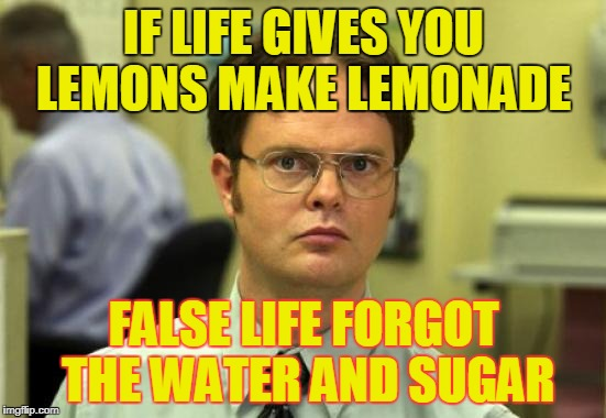Dwight Schrute Meme | IF LIFE GIVES YOU LEMONS MAKE LEMONADE FALSE LIFE FORGOT THE WATER AND SUGAR | image tagged in memes,dwight schrute | made w/ Imgflip meme maker