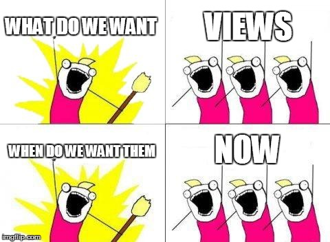 What Do We Want Meme | WHAT DO WE WANT VIEWS WHEN DO WE WANT THEM NOW | image tagged in memes,what do we want | made w/ Imgflip meme maker