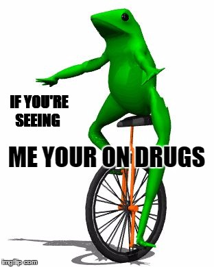 Dat Boi | IF YOU'RE SEEING ME YOUR ON DRUGS | image tagged in memes,dat boi | made w/ Imgflip meme maker