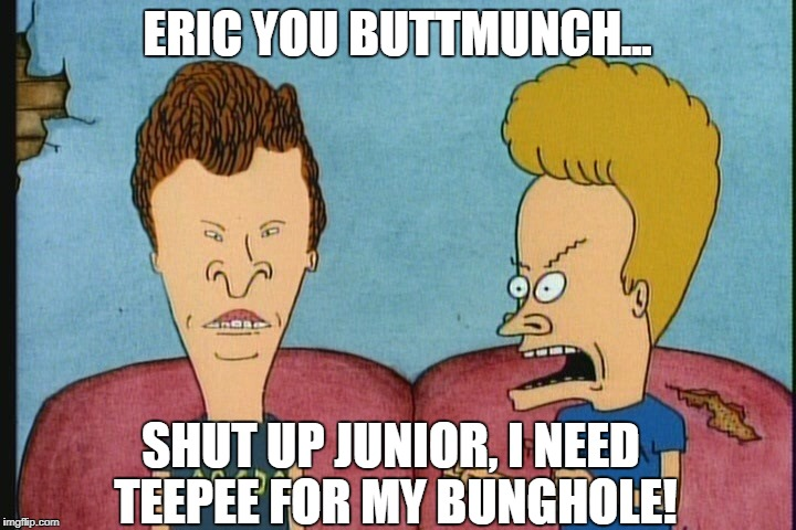 ERIC YOU BUTTMUNCH... SHUT UP JUNIOR, I NEED TEEPEE FOR MY BUNGHOLE! | image tagged in beavis  butthead 2 | made w/ Imgflip meme maker