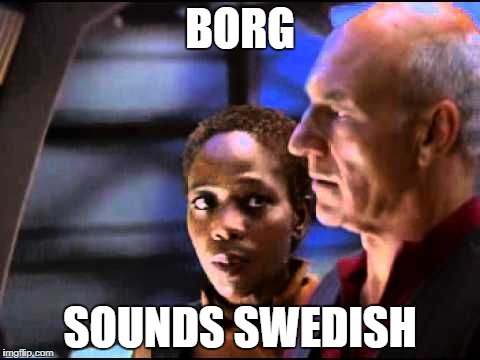 BORG SOUNDS SWEDISH | image tagged in sounds swedish | made w/ Imgflip meme maker