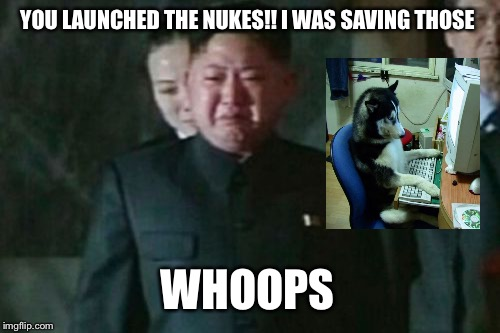 Kim Jong Un Sad Meme | YOU LAUNCHED THE NUKES!! I WAS SAVING THOSE WHOOPS | image tagged in memes,kim jong un sad | made w/ Imgflip meme maker
