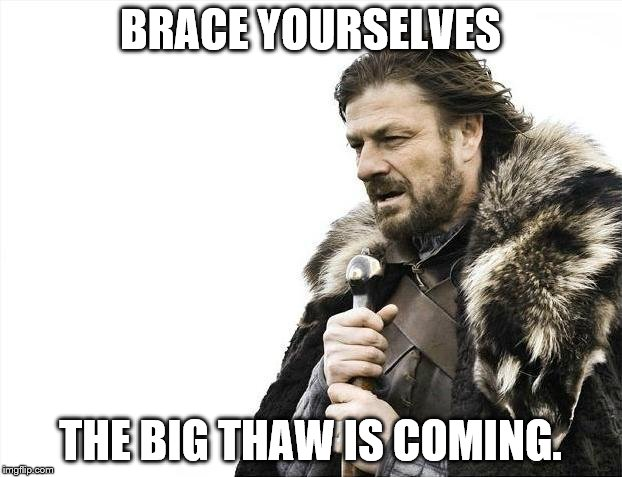 Brace Yourselves X is Coming Meme | BRACE YOURSELVES THE BIG THAW IS COMING. | image tagged in memes,brace yourselves x is coming | made w/ Imgflip meme maker