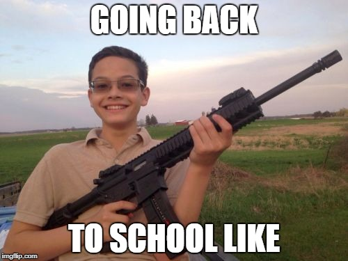 School shooter calvin | GOING BACK TO SCHOOL LIKE | image tagged in school shooter calvin | made w/ Imgflip meme maker