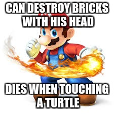 Mario Time! | CAN DESTROY BRICKS WITH HIS HEAD DIES WHEN TOUCHING A TURTLE | image tagged in mario time | made w/ Imgflip meme maker