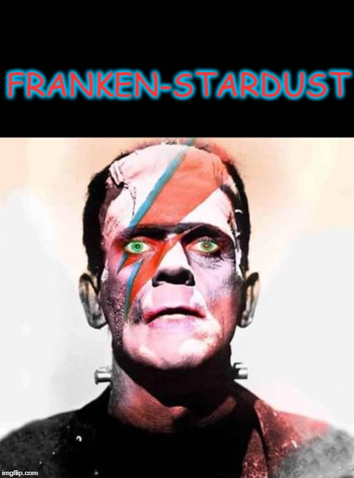 Change 1 franky | FRANKEN-STARDUST | image tagged in david bowie,frankenstein | made w/ Imgflip meme maker
