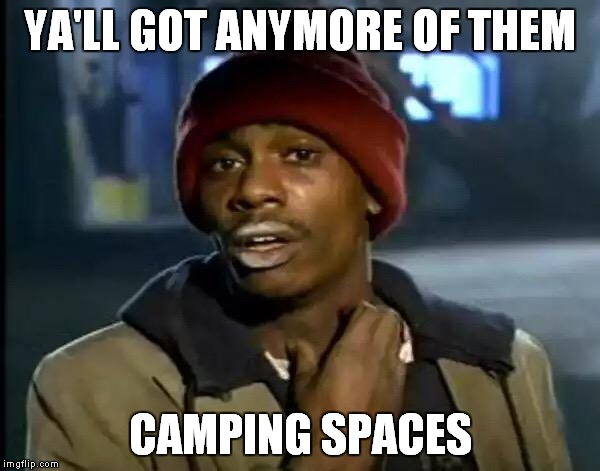 Y'all Got Any More Of That Meme | YA'LL GOT ANYMORE OF THEM CAMPING SPACES | image tagged in memes,y'all got any more of that | made w/ Imgflip meme maker