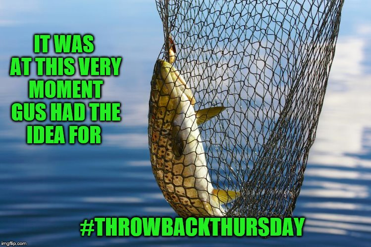 IT WAS AT THIS VERY MOMENT GUS HAD THE IDEA FOR #THROWBACKTHURSDAY | image tagged in fish,fishing,throwback,throwback thursday,thursday | made w/ Imgflip meme maker