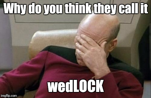 Captain Picard Facepalm Meme | Why do you think they call it wedLOCK | image tagged in memes,captain picard facepalm | made w/ Imgflip meme maker