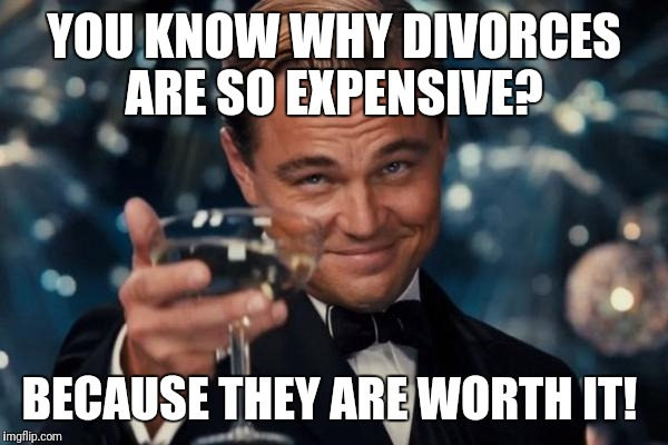 Leonardo Dicaprio Cheers Meme | YOU KNOW WHY DIVORCES ARE SO EXPENSIVE? BECAUSE THEY ARE WORTH IT! | image tagged in leonardo dicaprio cheers,funny memes,kermit the frog,bad luck brian,futurama fry,the most interesting man in the world | made w/ Imgflip meme maker
