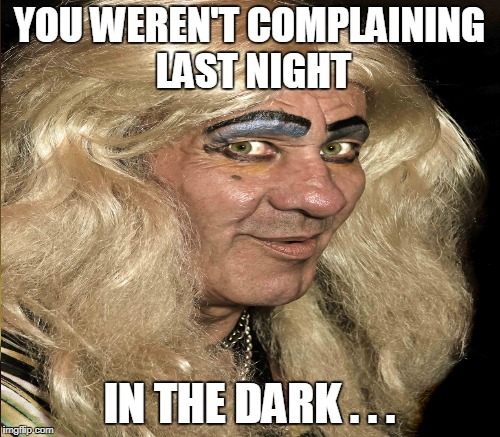 YOU WEREN'T COMPLAINING LAST NIGHT IN THE DARK . . . | made w/ Imgflip meme maker