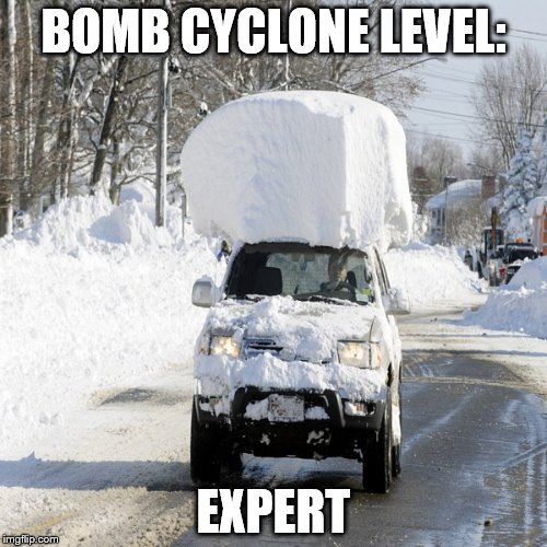 His car should be snow free in June | BOMB CYCLONE LEVEL: EXPERT | image tagged in snow,winter storm,winter,cold weather,snow day | made w/ Imgflip meme maker