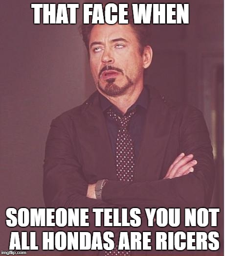 Face You Make Robert Downey Jr Meme | THAT FACE WHEN SOMEONE TELLS YOU NOT ALL HONDAS ARE RICERS | image tagged in memes,face you make robert downey jr | made w/ Imgflip meme maker