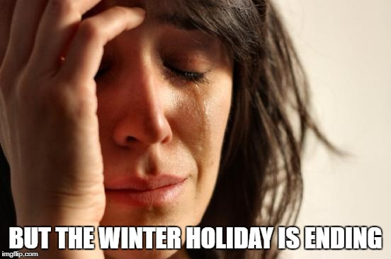 First World Problems Meme | BUT THE WINTER HOLIDAY IS ENDING | image tagged in memes,first world problems | made w/ Imgflip meme maker